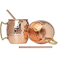 Hammered Moscow Mule Copper Mugs set 18-Ounce (Pack of 4) 4 Straw Free,