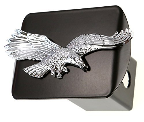 Flying Eagle 3d Chrome Plated Emblem on Black Trailer Metal Hitch Cover Fits 2 Receivers by HitchCover - Receiver Hitch Cover