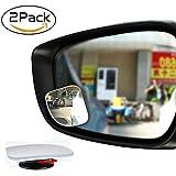 Emiup Fächerförmige Blinker-Spiegel 360 ° drehbarer rahmenloser HD Konvexer Glas-Stick-on-Rückspiegel für alle Autos, Motorräder, LKW, SUV, 2 Stück