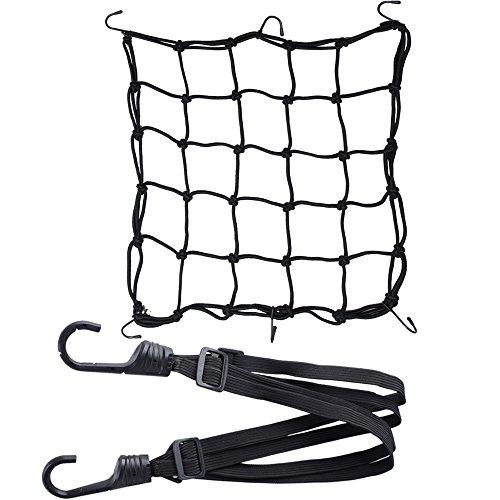 1pz Rete + 1pz Corda Elastica Ragno Accessori per Moto Bici Portapacchi Coprire Appendere Casco Bagagliai con Ganci Nero