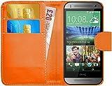 G-Shield Hülle für HTC Mini 2 Klapphülle mit Kartenfach - Orange