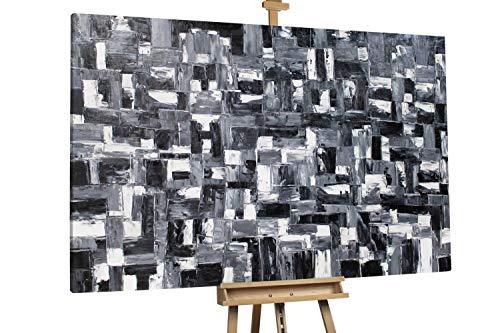 'Dark Fantasy' 180x120cm | Abstrakt Schwarz Weiß Elemente XXL | Modernes Kunst Ölbild