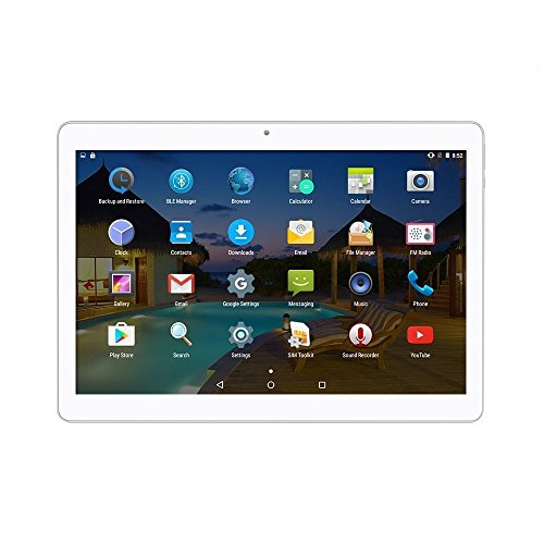 Android Tablet 10 Zoll 3G entsperrt Phablet Octa Core Android 6.0 mit Dual-SIM-Kartensteckplatz 2 GB RAM 32 GB ROM Built-in WiFi Bluetooth GPS Netflix YouTube (Silber)