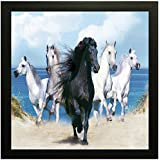 Five Horses || Vastu Painting For Home And Office.|| Running Horses Painting || 5 Horses Painting || Horses (Wood, 30 Cm X 2 Cm X 30 Cm)