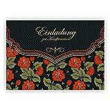 Klappkarten Set (4Stk) Schicke Einladungskarte mit schönem Blumen Muster in orange schwarz für Mädchen: Einladung zur Konfirmation