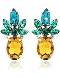 916a7084ec31 Piña Amarilla Pendientes Studs Bling Bling Vaso de Cristal Vintage de Moda  Linda Joyería de Frutas para Mujeres…