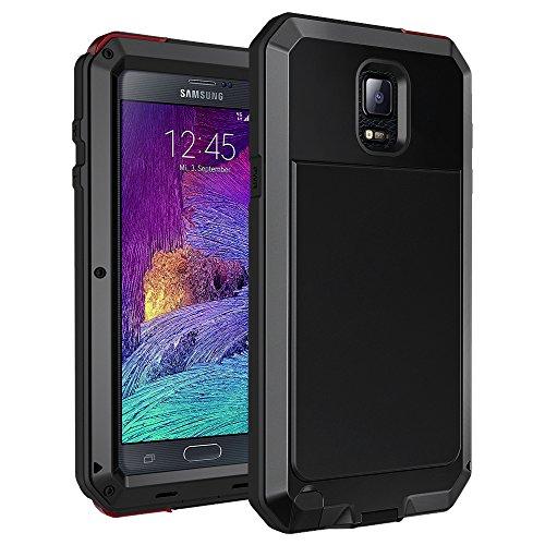 seacosmo Custodia Galaxy Note 4, Fullbody Cover Protettiva Doppio Strato Alluminio Case con Protezione Integrata dello Schermo per Samsung Galaxy Note 4, Nero