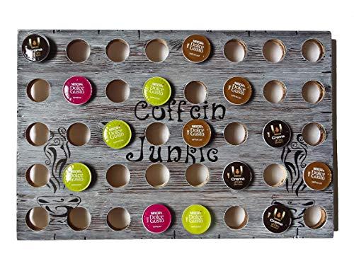 SHaBBy ChiC HaNDMaDe Kapselhalter für 4o Nescafe Dolce Gusto Kapseln Farbe grau (Breite 6o cm; Höhe 4o cm) aus Echtholz im used look ... von vorn bedienbar, inkl. Wandaufhängung ... Kapselspender porte capsule