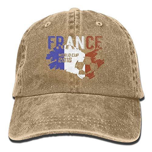 Hoswee Unisex Kappe/Baseballkappe, Men Women France Soccer Jersey 2018 World Cup Adjustable Vintage Baseball Caps Washed Cowboy Dyed Denim Hat