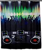 Duschvorhang mit Party Motiv - Bunt 'Disc Jockey' Design ca. 200 x 180 cm - Dusch-Vorhang als Geschenkidee - Grinscard