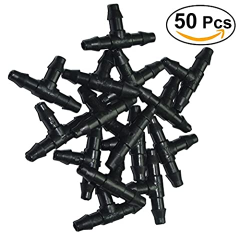 OUNONA 50 Pcs Hose Nozzle Tee Connectors Drip Irrigation Garden Tool For 4/7mm Hose