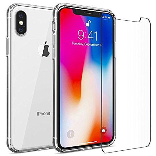 Mosaik für Apple iPhone X, Dämpfung Bumper Cover, HD Clear Air Kissen Schutzhülle für iPhone X mit 9H 0,26mm ESG Glas, Handy Fall Gel Harz für iPhone X - Kissen Glas-mosaik