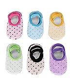 6 Paires Chaussettes Bébé Fille en Coton Chic Anti-Glissement Douce pour Plancher Multicolore
