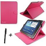 "Funda de piel sintética rosa pantalla & soporte para Energy Sistem S1010.1""pulgadas Tablet PC + lápiz capacitivo"