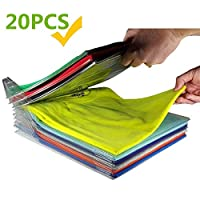 Nifogo Closet Organizer Wardrobe Drawers Organizer Quick Laundry Organiser Transparent Board Shelf T-Shirt Folding Board (20-Pack)