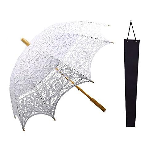 Kakoo Dentelle Parasol Parapluie vintage victorien Dentelle Coton Parasol avec