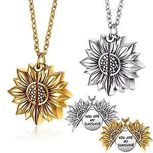 2 Stücke You Are My Sunshine Medaillon Halskette Sonnenblume Graviert Offenen Medaillon Anhänger Halskette, Gold und Silber
