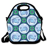 Icndpshorts Whales Anchors In Green Circles Lunch Boxes Waterproof Picnic Travel Bag with Zipper and Adjustable Crossbody Strap Design