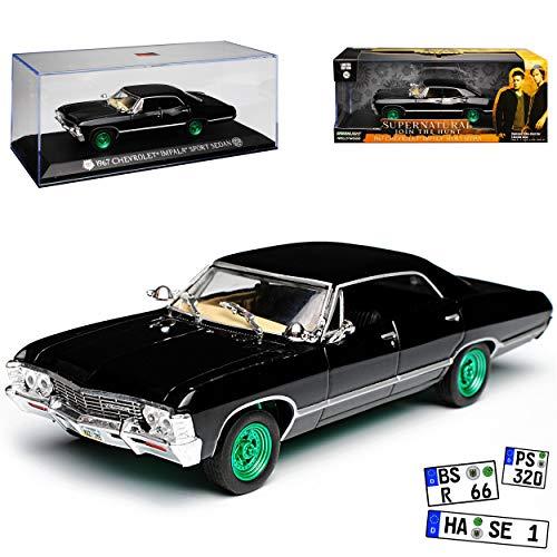 Greenlight Chevrolet Impala Sport Sedan Limousine Schwarz Supernatural Join The Hunt 1965-1970 mit grünen Felgen 1/43 Modell Auto