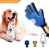Fellpflege Handschuh Babacom 3 in 1 Hund & Katze Dusche Sprüher: Baden, Deshedding & Fellpflege, Haustier Badewerkzeug Duschkopf für Badewanne/Draussen, Dusche Massage Handschuh für Hunde und Katze