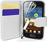 Supergets® Samsung Galaxy Ace 2 I8160 Wallet Side Flip Case Covers Screen Protector And Polishing Cloth WHITE