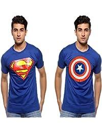 Smartees Blue Color Cotton Half Sleeve Superman & Captain America Tshirt For Men Combo Pack Of 2