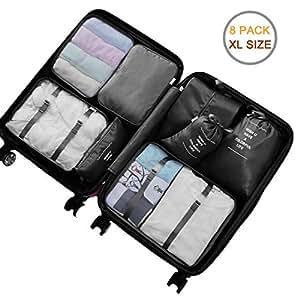 Packing Cubes - 8 Sets Luggage Organiser Travel Storage Bags, XL (Black)