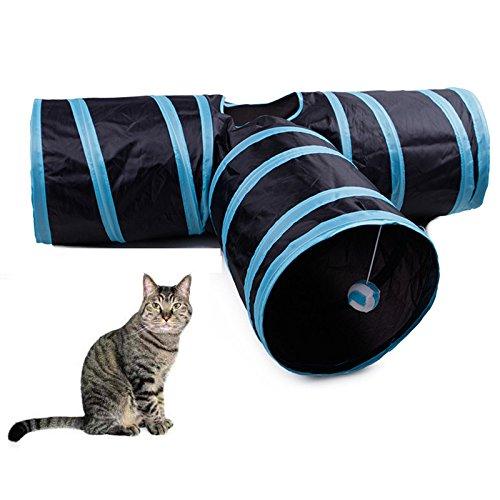 BZLine Katzenspielzeug Katzentunnel, Katze Spielzeug Hundenspielzeug Spieltunnel Faltbarer 3-Wege-Spiel Tunnel für Kaninchen Hasen Katze Hunde und Kleintiere Haustier