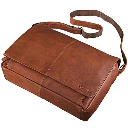 8a06757998f8d8 ... STILORD 'Alex' Vintage Ledertasche Männer Frauen Businesstasche zum  Umhängen 15,6 Zoll Laptoptasche ...