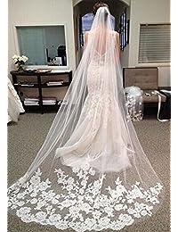3c405821ed9 VEECOME White Ivory Lace Edge Cathedral Length Wedding Bridal Veil+Comb  Stylish