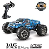 Hosim RC Auto 1:16 Radio Controlled off-Road RC Auto Monster Truck elettronico Rc RTR ad Alta velocità 36 km / h 4WD 2.4Ghz Remote Control Truck 9130, Cross-Country Car per Bambino e Adulti (Blu)