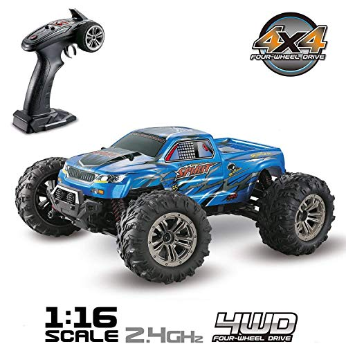 Hosim high speed 36km / h 4wd 2.4ghz telecomando camion 9130, scala 1:16 radio conrtolled off-road rc auto elettronico monster truck r / c rtr hobby cross-country car buggy (blu)