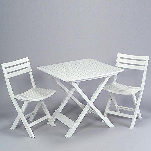 Progarden 4666 Camping-Set weiß bestehend aus: 2x Stuhl Birki +1 x Tisch Tevere, komplett...