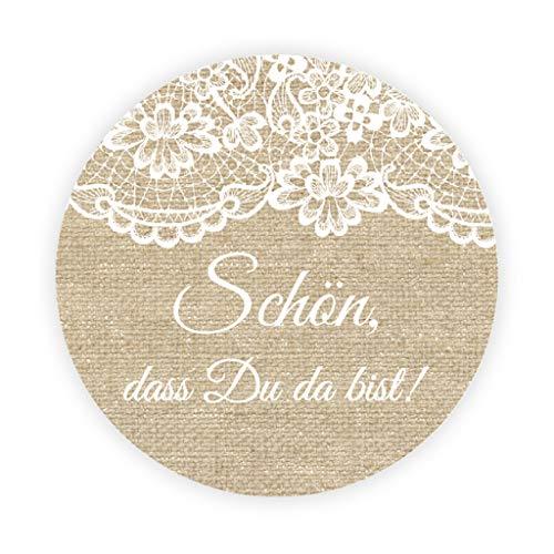 eKunSTreet ® 48x Burlap und Lace Effekt Hochzeitsaufkleber - Schön, dass du da bist - 4 cm selbstklebende Runde Papieraufkleber Etiketten für Hochzeit,Gastgeschenk,Tischdeko,Flaschen,Tüten - UNI 039