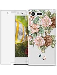 MadBee Funda para Sony Xperia X Compact [con Protector Pantalla],Transparente Carcasa Silicona Ultra Fina Suave TPU Gel Bumper Case Protección con Dibujos Shell Cover (Flor 1)