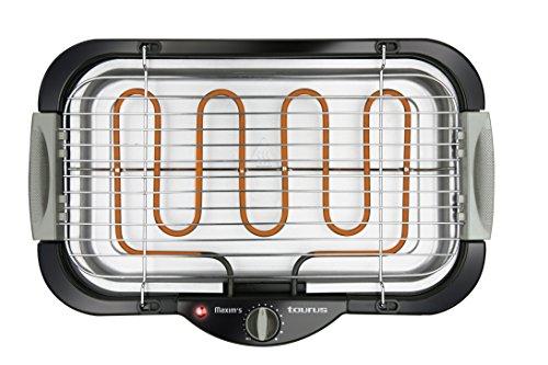 Taurus Maxim`s III – Barbacoa eléctrica, parrilla ajustable 2 alturas, sin patas, resistencia y bandeja de agua extraíbles, interior y exterior, temperatura regulable, interruptor de seguridad, 2000 W