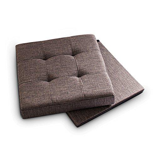 Relaxdays - Banco/baúl plegable con espacio de almacenamiento hecho de lino con medidas 38 x 38 x 38 cm asiento estable 40 L capacidad, color marrón