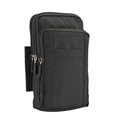 Universal Heavy Duty robuste Nylon Canvas Hüfttasche Handy Tasche vertikale Smartphone Holster Tasche mit Gürtelclip Haken Schleife Geldbörse Crossbody Messenger Bag für alle Handys Tablet unter 7inch