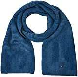Tommy Hilfiger Herren Schal PIMA Cotton Cashmere Scarf, Blau (Ensign Blue Heather 454), One Size (Herstellergröße: OS)