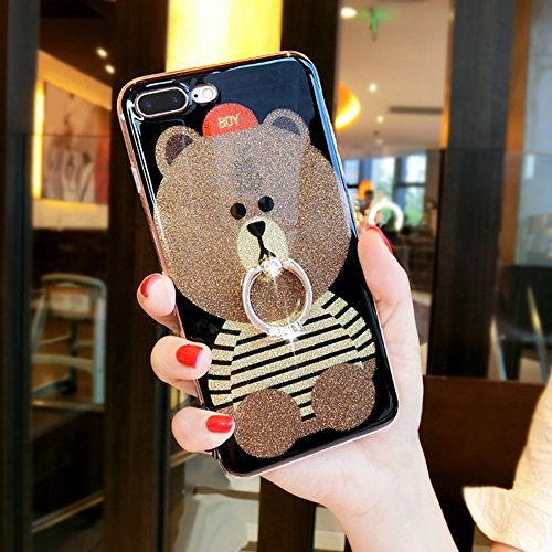 EUWLY Specchio Custodia Per iPhone X, Specchio Soft TPU Silicone Case per iPhone X Cristallo Brillantini Trasparente Clear Custodia Backcover Bling Glitter Shinning Strass Diamante Custodia Ultra Sott Orso Stripes Ring