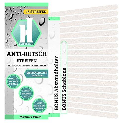 18 x Anti-Rutsch Streifen + BONUS Abstandhalter | hygienische Alternative zur Duschmatte | selbstklebende Haftstreifen für Rutschhemmung in Bad, Dusche, Badewanne und Nassbereich | 254mm x 19mm