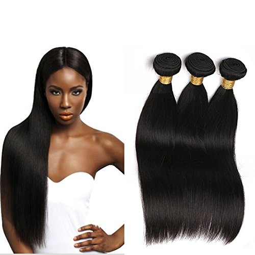 Human Extensions (Silkylong 7a Brazilian Hair 3 Bundles Straight Weave 16 18 20Inch Products Unprocessed Human Hair Extensions for Black Women)