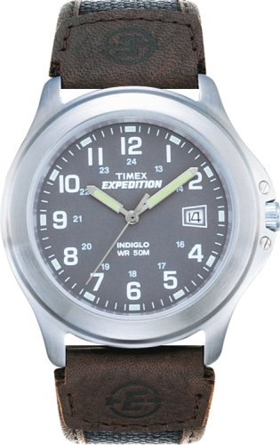 Timex Expedition Men's Quartz Watch with Grey Dial Analogue Display and Brown Leather Strap T400914E