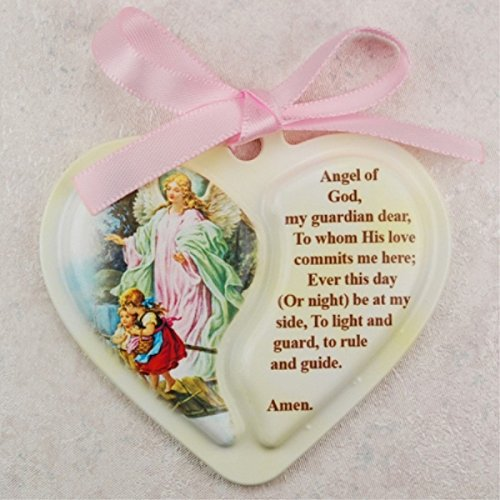 Crib Medal, Includes Pink Ribbon - Décor Gift Religious ()