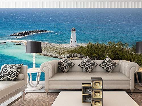 Fototapeten 3D Effekt Leuchtturm Wandbild Tapete Moderne Wohnzimmer Mural Schlafzimmer Kinderzimmer TV Hintergrund Wand Dekoration 150x100CM -