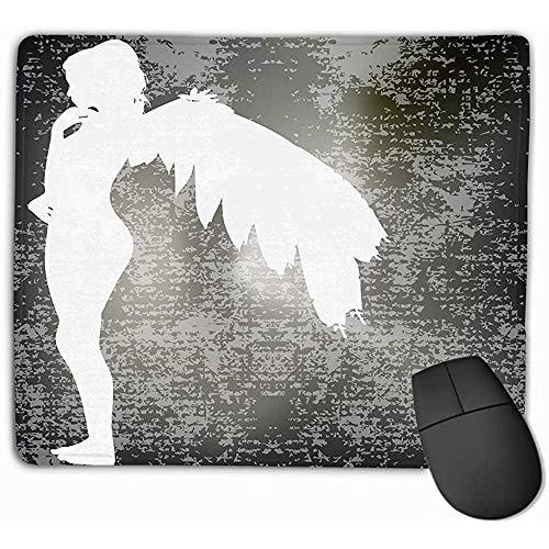 Mousepad Custom Design Gaming Mouse Pad Gummi längliche Mauspad 30X25CM White Angel Silhouette über dunklen strukturierten Hintergrund Charakter -