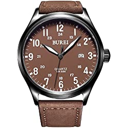 BUREI Unisex Luminous Quartz Watch Date Analogue Display with Brown Dial and Leather Strap