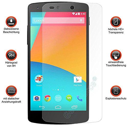 Genieforce Premium Gehärtetes HD+ Panzerfolie Schutzfolie für LG Google Nexus 5 E980-0,2mm 9H HART