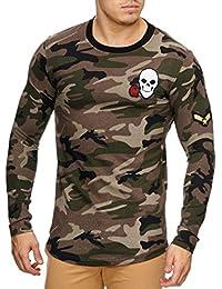 Violento - T Shirt Manche Longue tête de Mort Camouflage Kaki 1abab8977d54