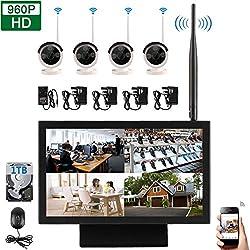 """EDSSZ® Actualizado 4 canales 960p 1.3 megapíxeles inalámbrico 4 IR visión nocturna cámaras IP Sistema de control remoto, 10.2 """"1080p pantalla LED WIFI NVR con 1 TB de disco duro, tipo de escritorio EDS-WIFILED04-TS960P-1TB"""
